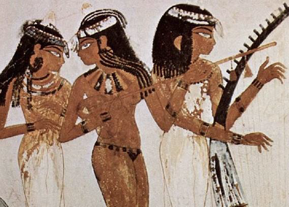 ancient depiction of female Egyptian musicians