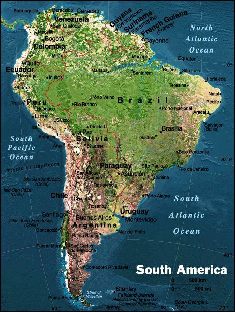 Mapa Fsico de Amrica del Sur  Online Map